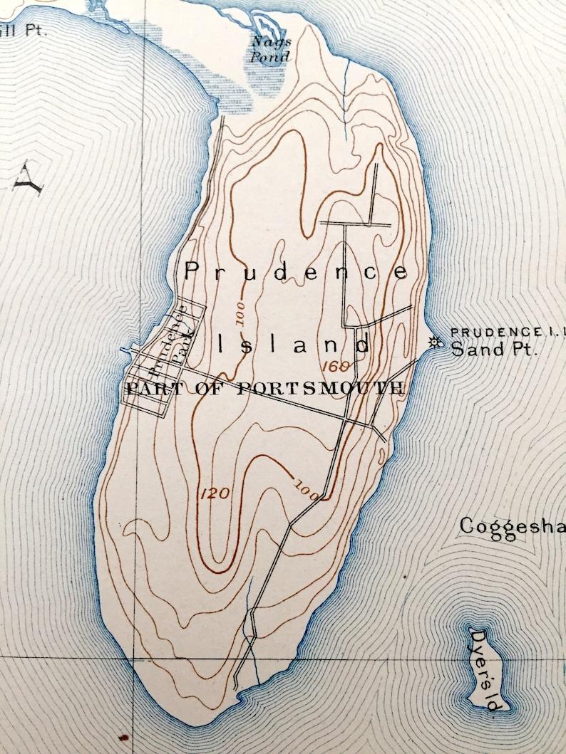 Rhode Island 1892 US Geological Survey Topographic Map \u2013 East Greenwich Jamestown Antique Narraganset Bay Middletown Kingston Bristol RI