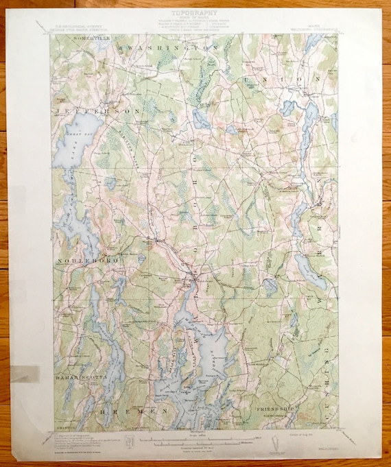 Jefferson Maine Map.Antique Waldoboro Maine 1915 Us Geological Survey Topographic Etsy