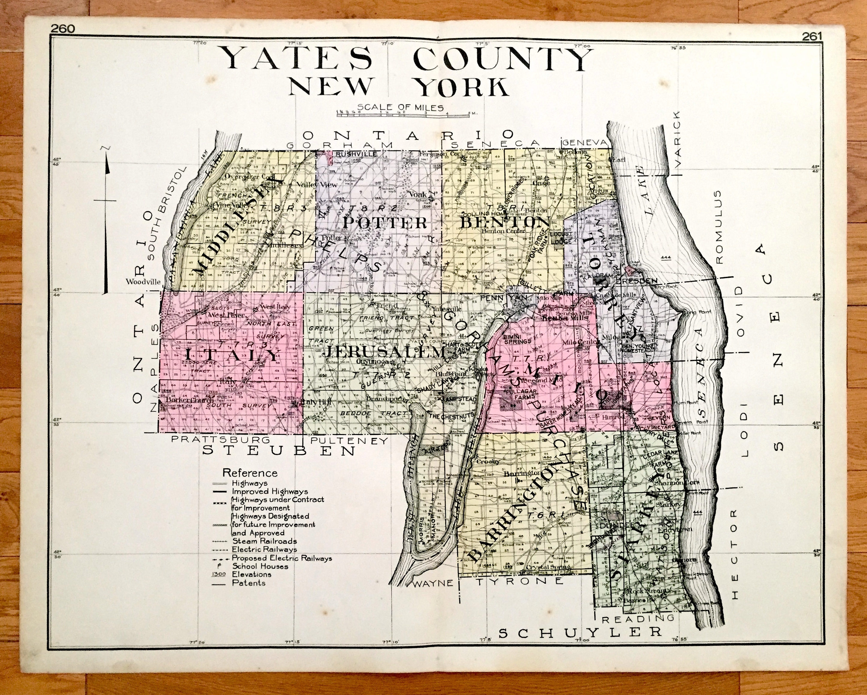 Antique Yates County, New York 1912 New Century Atlas Map – Penn on