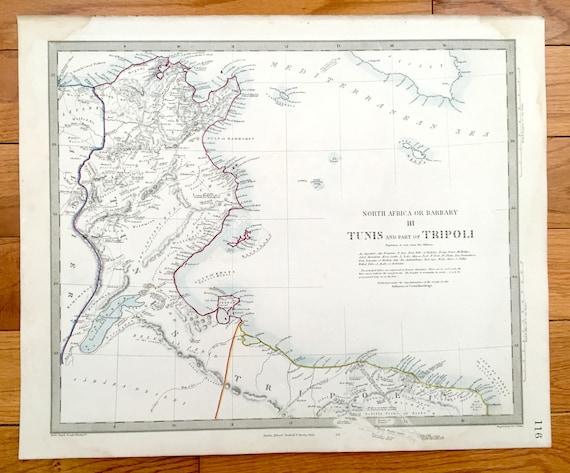 Tunisia North Africa Map.Antique 1856 Tunisia Libya Map From Sduk Atlas Algeria Tripoli Barbary Coast Mediterranean Sea North Africa Sicily Malta Misrata