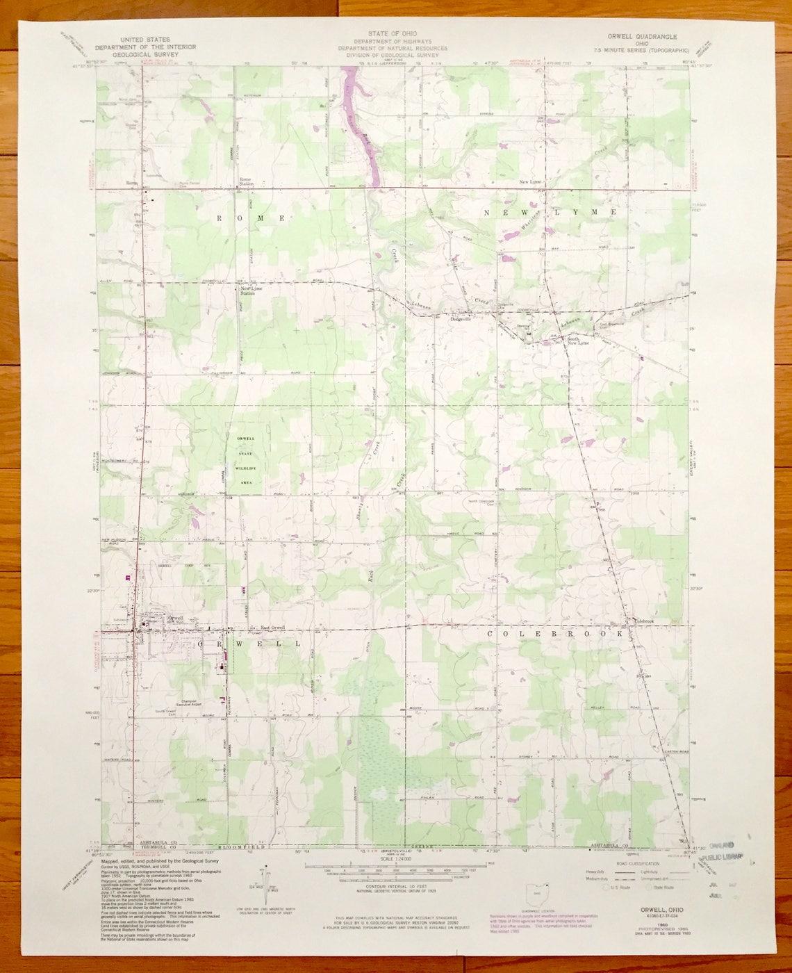 Orwell Ohio Map.Antique Orwell Ohio 1960 Us Geological Survey Topographic Map Etsy