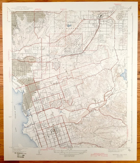 Topographic Map Of San Diego.Antique San Diego California 1944 Us Geological Survey Etsy