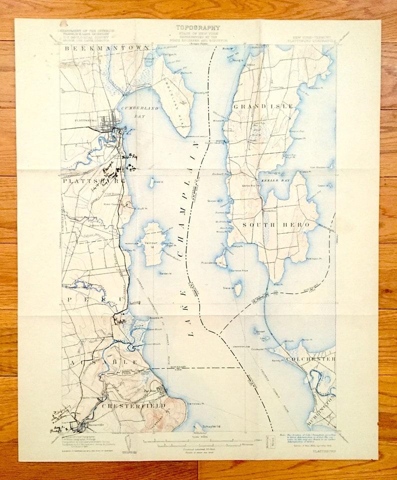 Antique Plattsburgh New York 1906 Us Geological Survey Etsy - Lake-champlain-on-us-map