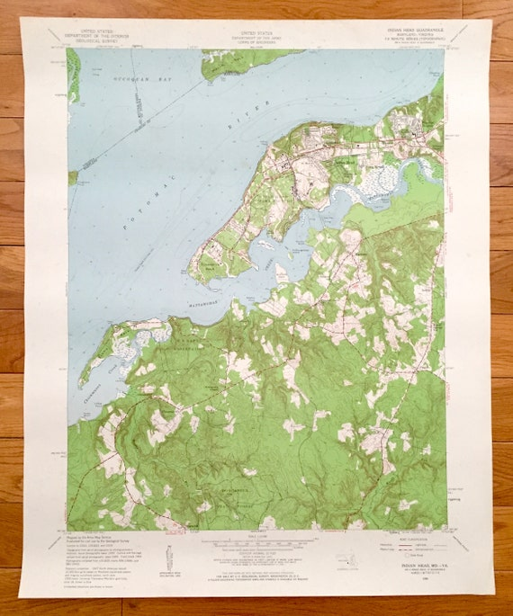 Antique Indian Head Maryland Va 1956 Us Geological Survey Etsy