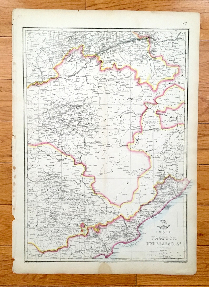 Antique 1863 Nagpoor and Hyderabad, India Map by Weller & Weekly Dispatch on madras india map, andhra pradesh map, bengalor india map, new delhi, jaipur india map, dhaka india map, kabul india map, nagpur india map, madurai india map, karimnagar india map, andhra pradesh, taj mahal india map, lucknow india map, godavari river map, ahmedabad india map, kanpur india map, tamil nadu, surat india map, kolkata india map, varanasi india map, agra india map, bangalore india map, pune india map,