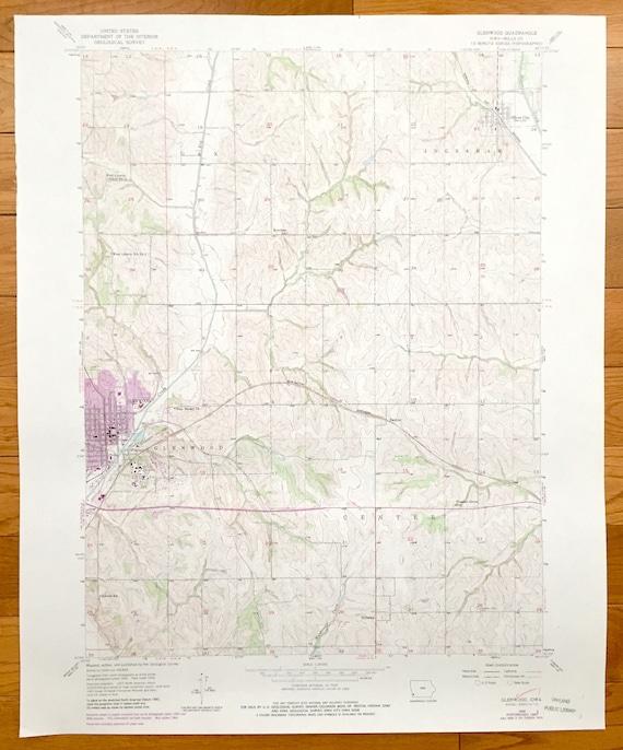 Antique Glenwood Iowa 1971 Us Geological Survey Topographic Etsy