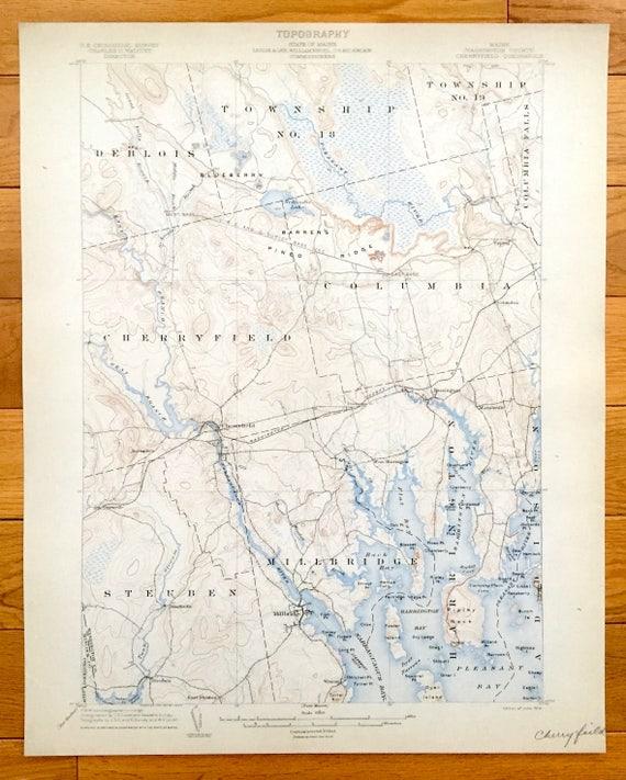 Harrington Maine Map.Antique Cherryfield Maine 1904 Us Geological Survey Etsy