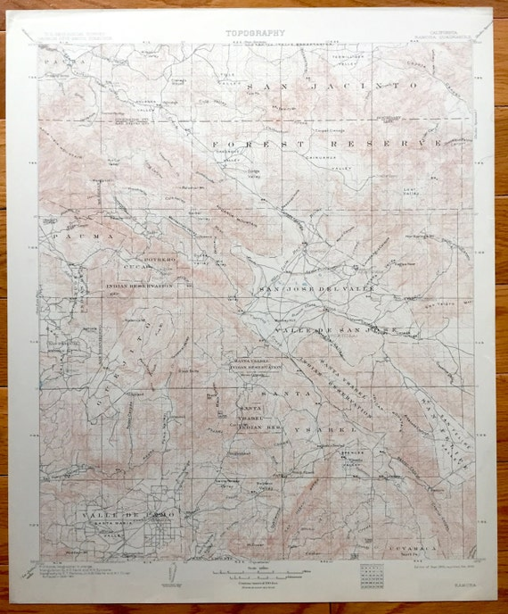 Topographic Map Of San Diego.Antique Ramona California 1903 Us Geological Survey Etsy