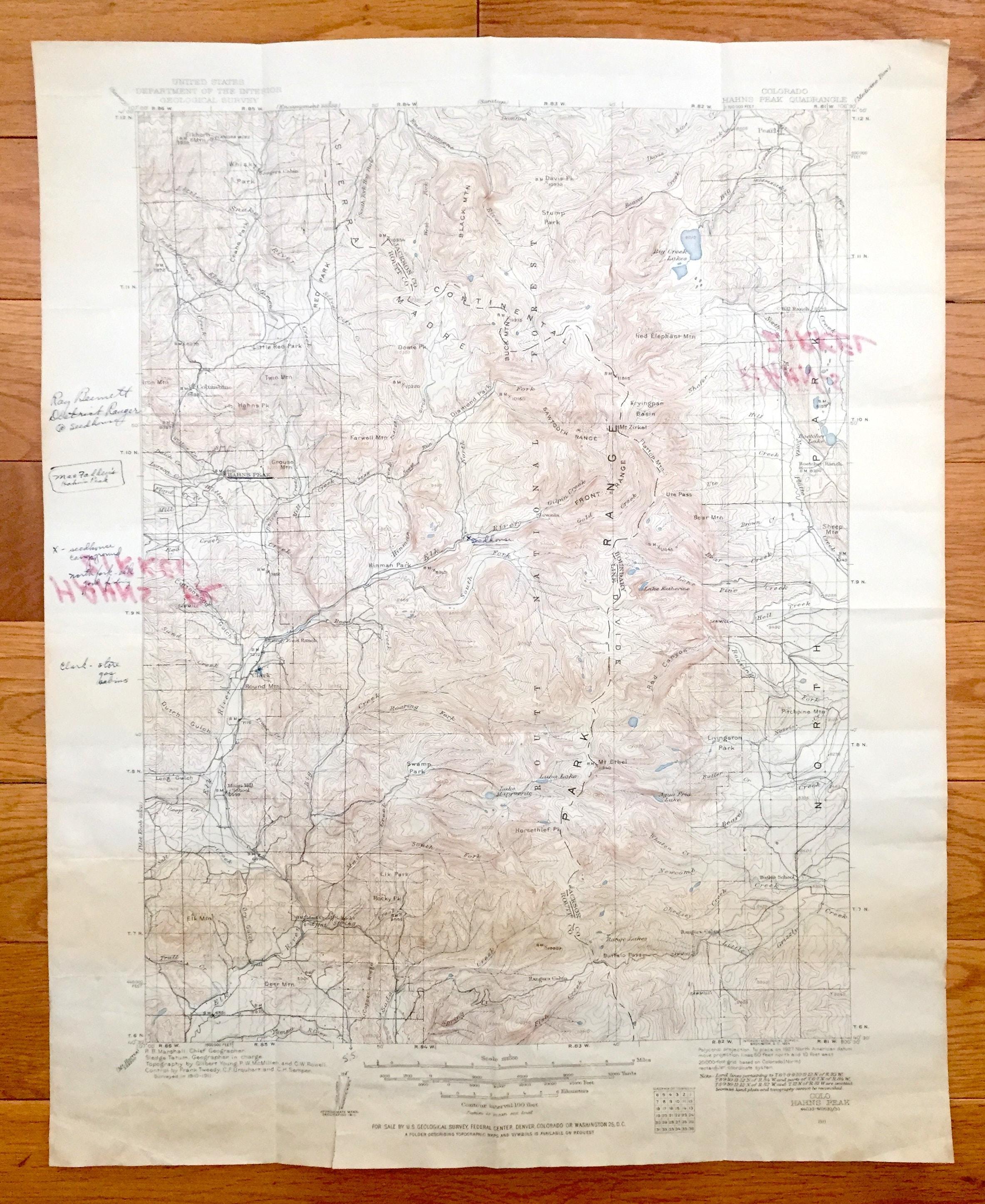 Clark Colorado Map.Antique Hahn S Peak Colorado 1911 Us Geological Survey Etsy