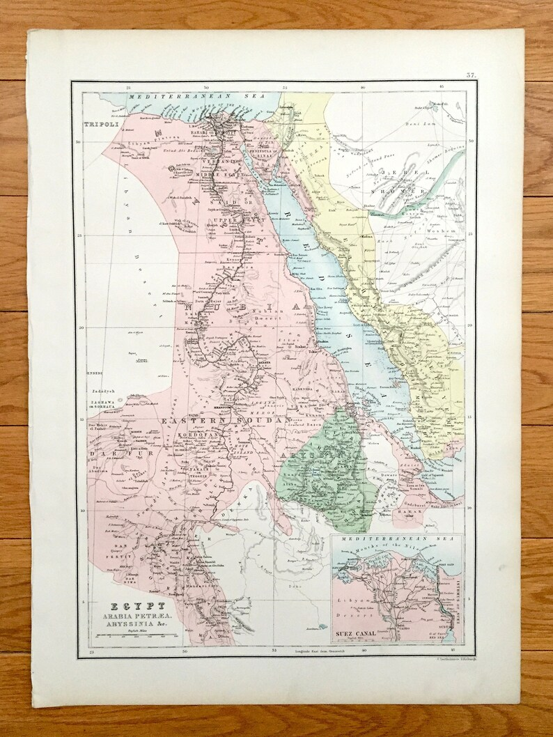 Antique 1888 Egypt Map from A & C Black's World Atlas – Israel, Saudi  Arabia, Sudan, Cairo, Alexandria, Luxor, Aswan, Nile River, Suez Canal