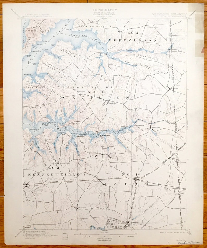 Chesapeake Bay Topographic Map.Antique Chesapeake Bay Maryland 1900 Us Geological Survey Etsy