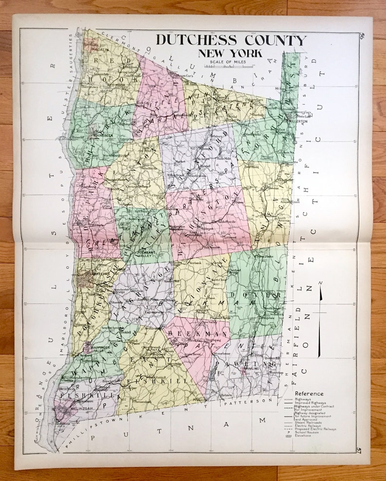 Antique Dutchess County New York 1911 New Century Atlas Map | Etsy