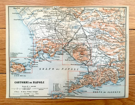 Antique 1893 Naples, Italy Map from Baedekers Guide – Pompei, Amalfi on genoa map, cagliari map, venice map, lake como map, salerno map, croatia map, spain map, cinque terre map, greece map, sorrento map, france map, umbria map, sicily map, capri map, europe map, italy map, positano map, naples map, tuscany map, turin map,