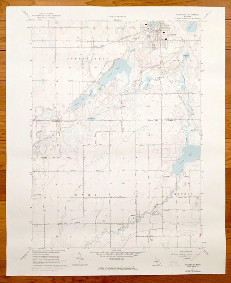 Antique Vicksburg Michigan 1967 Us Geological Survey Etsy - Vicksburg-on-us-map