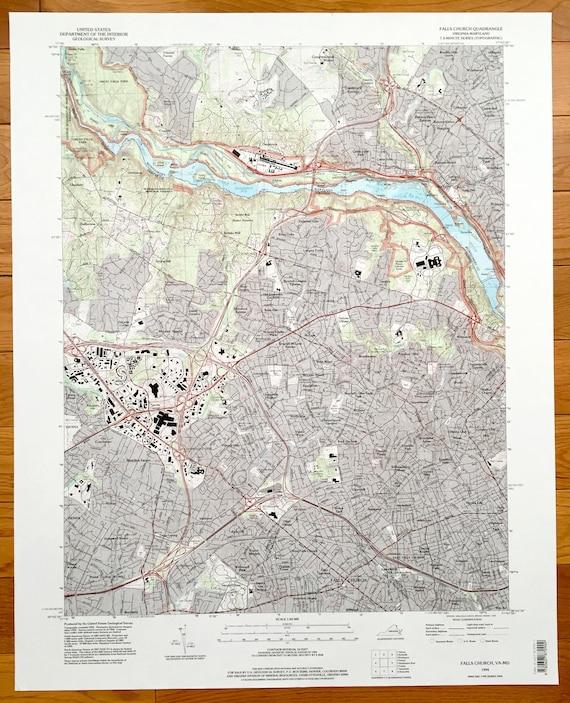 Falls Church Virginia Map.Antique Falls Church Virginia Glen Echo Maryland 1994 Us Etsy