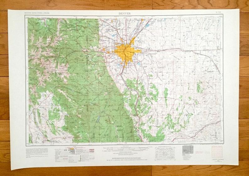Antique Denver, Colorado 1953 US Geological Survey Topographic Map on colorado regions map, northwest colorado map, englewood colorado and surrounding areas map, denver colorado map cities, denver co metro area map,