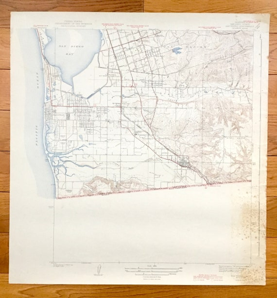 Antique San Diego California 1943 Us Geological Survey Etsy