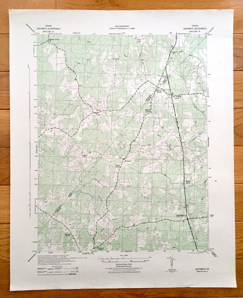 Antique Ladysmith Virginia 1942 Us Army Topographic Map Etsy - Us-army-topographic-maps