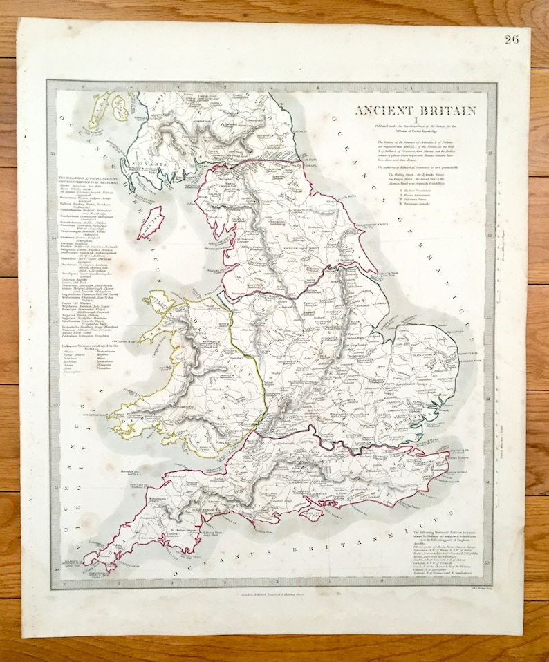 Antique 1845 Ancient Britain Map From Sduk Atlas United Etsy