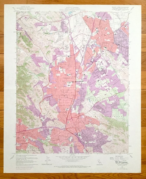 Pacheco California Map.Antique Walnut Creek California 1959 Us Geological Survey Etsy