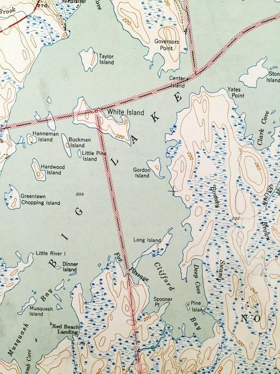 Antique Big Lake Maine 1943 Us Geological Survey Topographic Etsy
