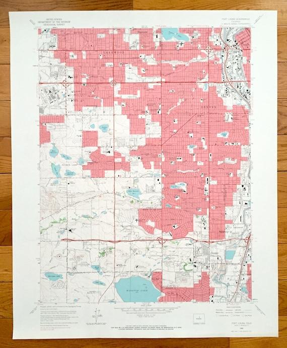 Sheridan Colorado Map.Antique Fort Logan Colorado 1965 Us Geological Survey Etsy