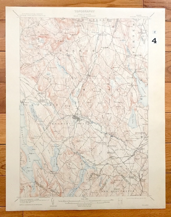 Poland Springs Maine Map.Antique Poland Maine 1908 Us Geological Survey Topographic Etsy