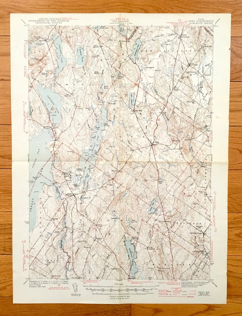 Antique Sebago Lake Maine 1944 Us Geological Survey Etsy