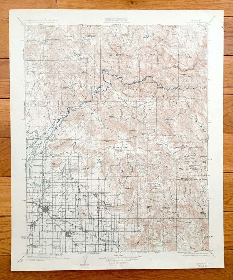 Antique Dinuba & Sequoia National Park, California 1924 US Geological  Survey Topographic Map – Reedley, Sierra Nevadas, Fresno, Tulare