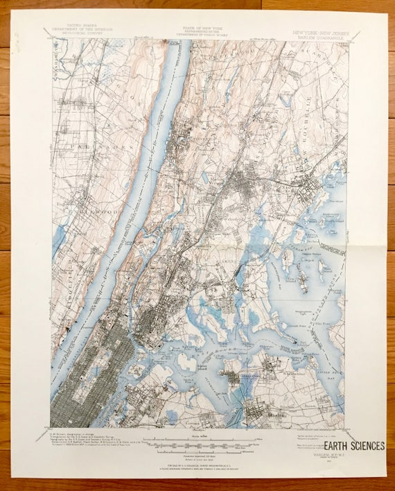 Antique New York City 1897 US Geological Survey Topographic Map –  Manhattan, The Bronx, Queens, Westchester, New Jersey, Central Park