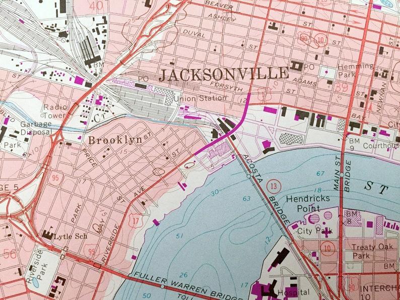 FL Antique Jacksonville San Marco Riverside Florida 1964 US Geological Survey Topographic Map \u2013 Duval County Ortega Forest Downtown