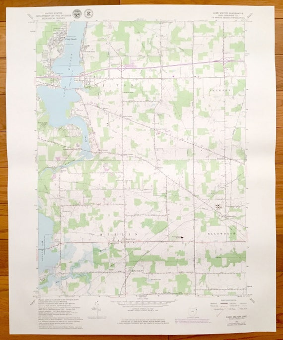Lake Milton Ohio Map.Antique Lake Milton Ohio 1966 Us Geological Survey Etsy