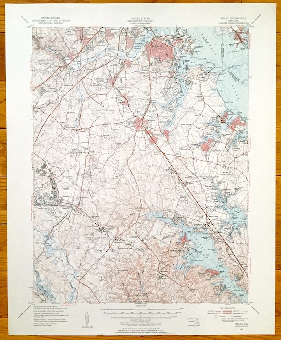 Antique Relay, Maryland 1947 US Geological Survey Topographic Map –  Baltimore, Brooklyn, Anne Arundel, Patapsco, Magothy & Severn Rivers