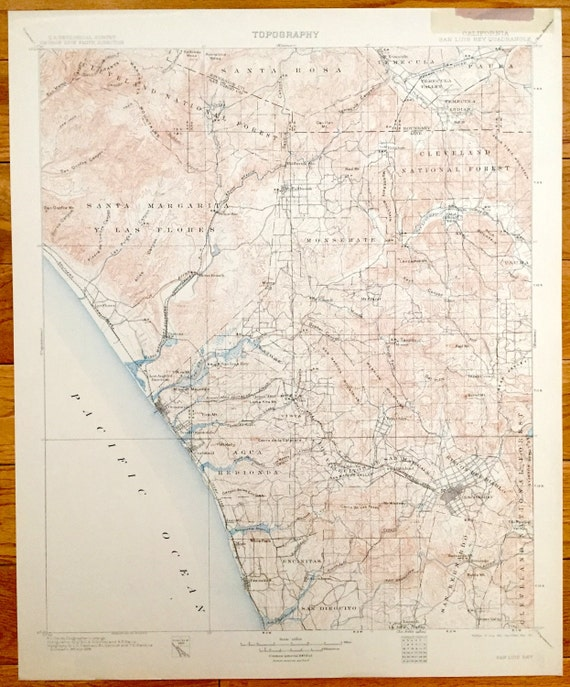 Antique Oceanside, California 1901 US Geological Survey Topographic Map –  San Luis Rey, Encinitas, Escondido, Carlsbad, Santa Rosa, Merle