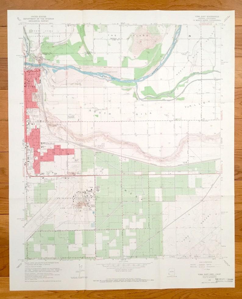 Map Of Yuma Arizona And Surrounding Area.Antique Yuma Arizona Ca 1965 Us Geological Survey Topographic Map Yuma Co Araby Gila Center Fort Yuma Indian Reservation Gila River