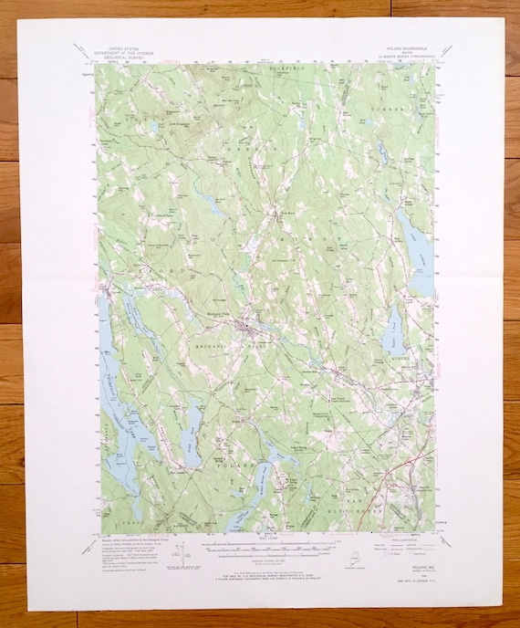 Antique Poland Maine 1956 Us Geological Survey Topographic Etsy
