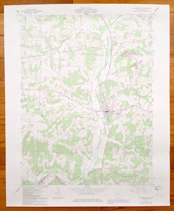 Ripley Ohio Map.Antique Millersburg Ohio 1961 Us Geological Survey Etsy