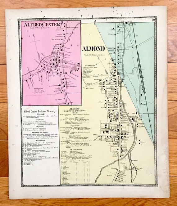 Antique 1869 Almond & Alfred Center, New York Map from D.G. Beers Atlas on map of alfred maine, map of new yorl, map of luling texas,