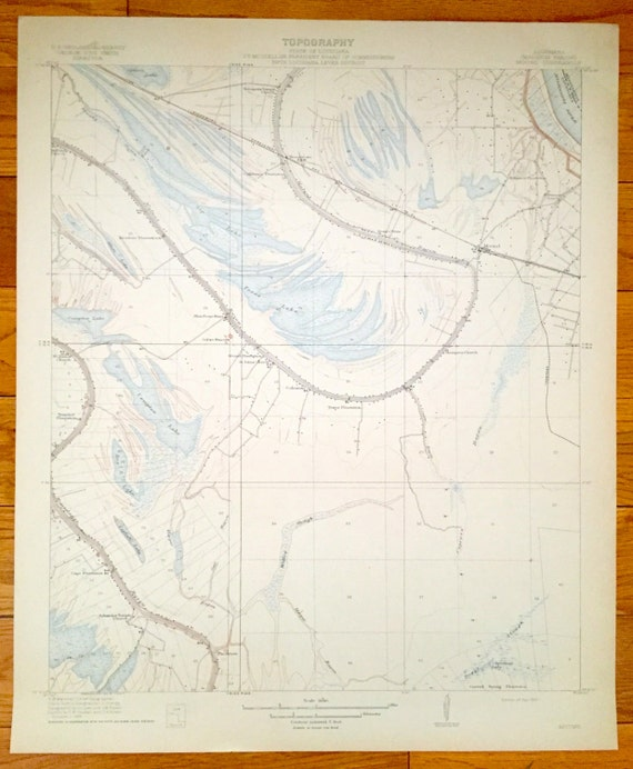 Antique Mound, Louisiana 1910 US Geological Survey Topographic Map – West  of Vicksburg, Coleman, East of Tallulah, Madison Parish, Bayous