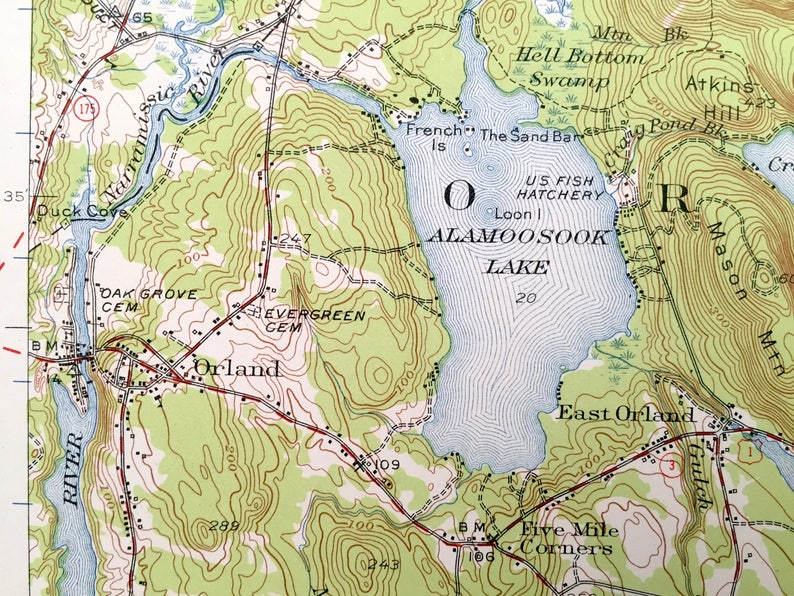 Orland Maine Map.Antique Orland Maine 1955 Us Geological Survey Topographic Etsy