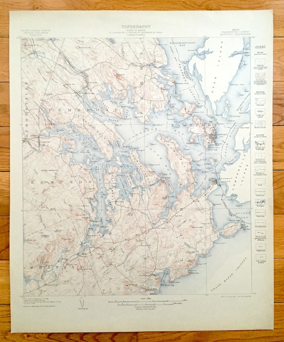 Perry Maine Map.Antique Eastport Maine 1908 Us Geological Survey Topographic Etsy