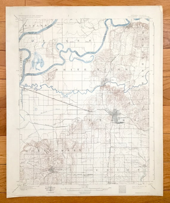 Gibson County Indiana Map.Antique Princeton Indiana 1903 Us Geological Survey Etsy