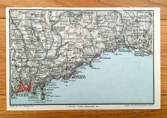 Antique 1937 Map Of Nice France From Muirhead S Blue Etsy