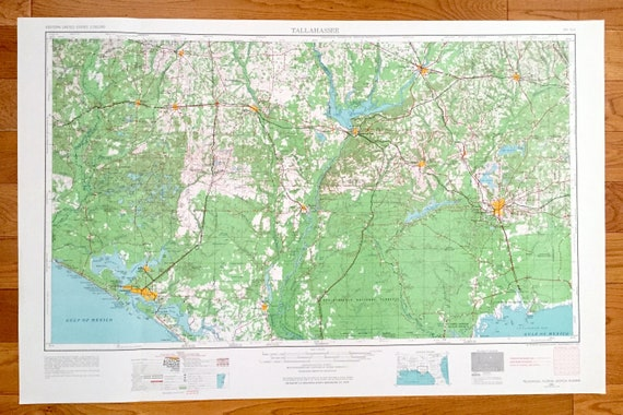 Antique Tallahassee, Florida 1954 US Geological Survey Topographic Map –  Georgia, Alabama, Ouincy, Panama City, Chattahoochee, Marianna