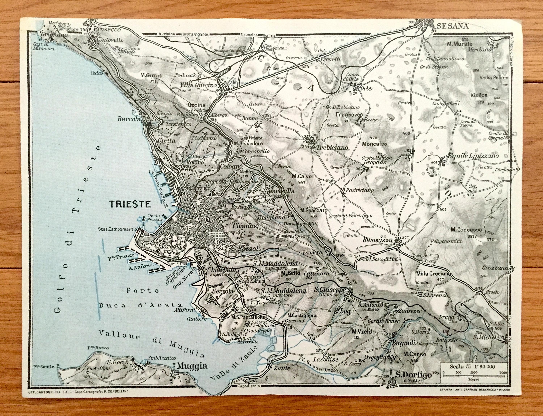 Antique 1937 Trieste Italy Map From Muirhead S Blue Guides Baedekers Friuli Venezia Giulia Muggia San Dorligo Grignano Bagnoli
