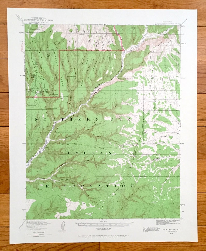 Antique Soda Canyon Colorado 1912 Us Geological Survey Etsy - Soda-map-of-the-us