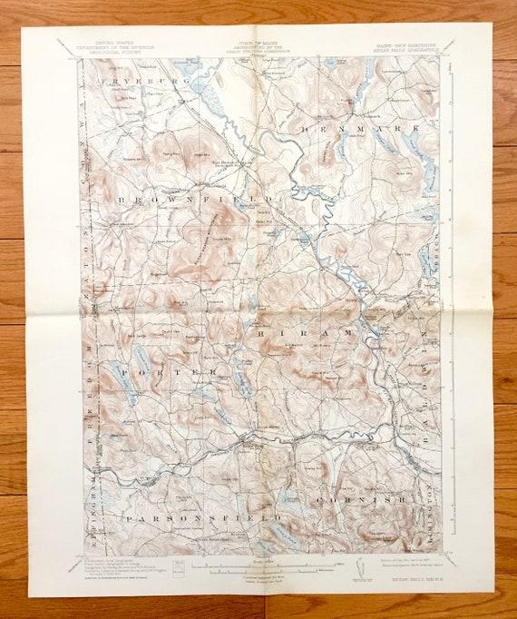 Hiram Maine Map.Antique Kezar Falls Maine 1911 Us Geological Survey Etsy