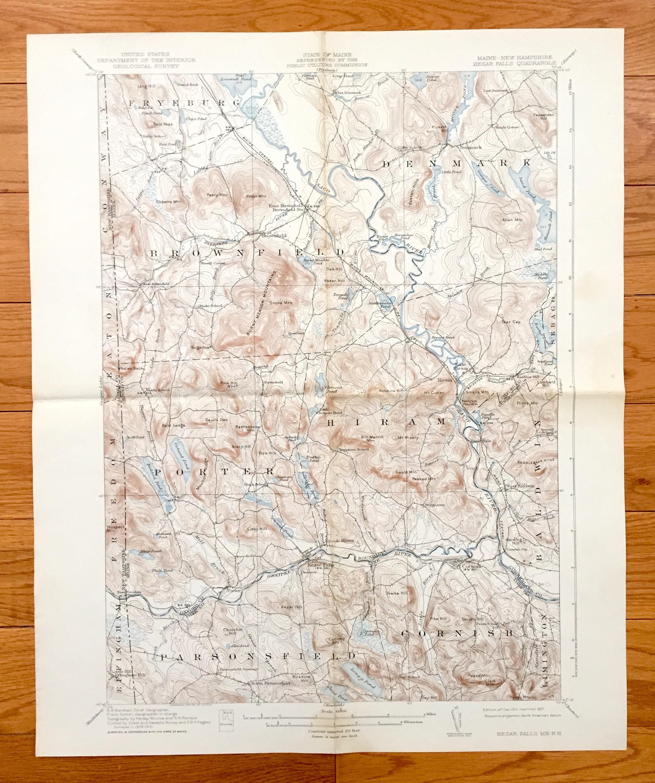 Porter Maine Map.Antique Kezar Falls Maine 1911 Us Geological Survey Etsy