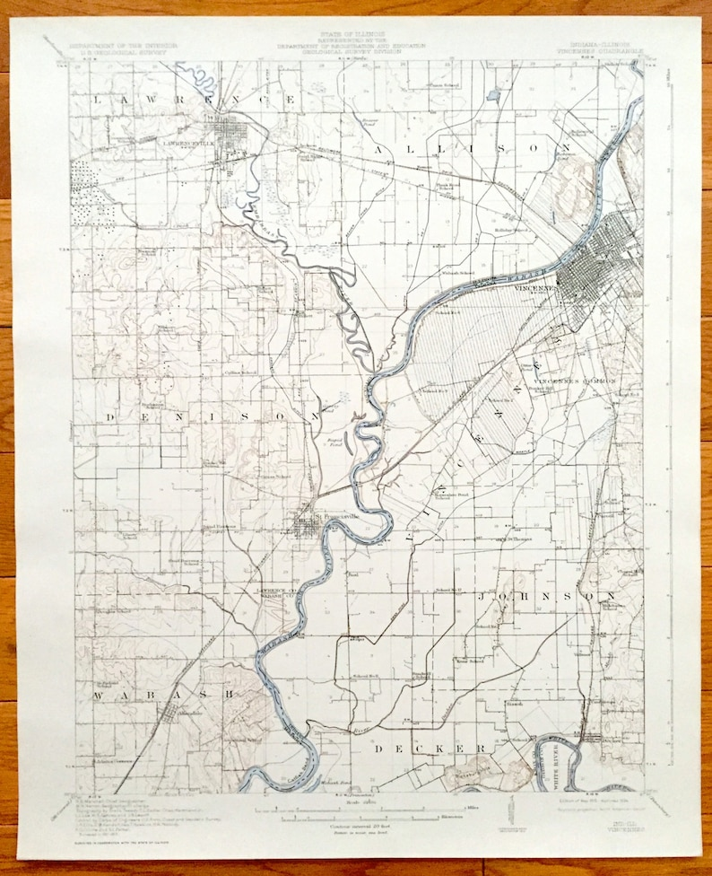 Knox County Indiana Map.Antique Vincennes Indiana Lawrenceville Illinois 1915 Us Etsy