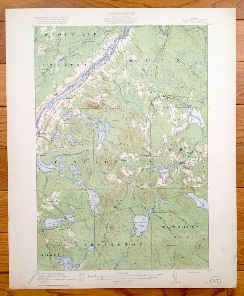 Us Map 1920.Antique Winn Maine 1920 Us Geological Survey Topographic Map Etsy